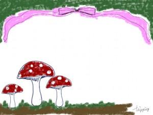 フリー素材:フレーム;森の中のきのことリボンの森ガール風イラスト;640×480pix