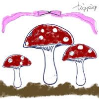 フリー素材:アイコン(twitter可);森ガール風のレトロポップな赤と白のドットのきのこ;200×200pix