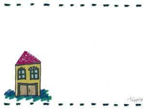 フリー素材:フレーム;古い絵本に出てくるようなお家;640×480pix