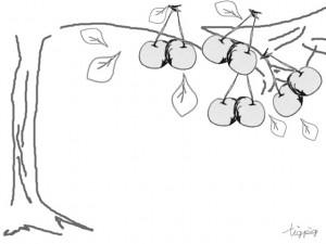 フリー素材:フレーム;大人可愛いモノトーンのサクランボと木;640×480pix