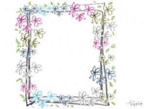 フリー素材:フレーム;大人可愛い小花とラフなラインの飾り枠;640×480pix