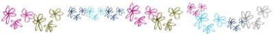 フリー素材:飾り罫;大人可愛い小花いっぱいのライン;400×50pix