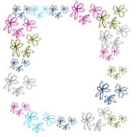 アイコン(twitter)のフリー素材:大人可愛いパステルカラーの小花の飾り枠;200×200pix