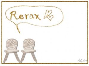 フリー素材:フレーム;大人可愛いシンプルな椅子のイラストとReraxの手書き文字とフキダシ;640×480pix