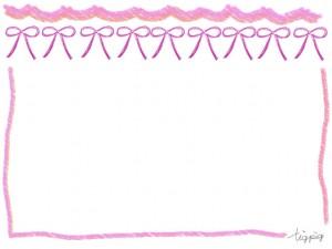 フリー素材:フレーム;大人ガーリーなピンクのリボンとラフなラインの飾り枠;640×480pix