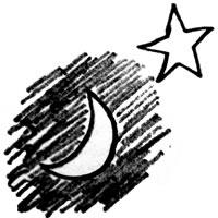 アイコン(twitter)のフリー素材:マジックの落書きみたいなラフな月と星;200×200pix