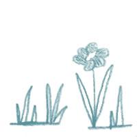アイコン(twitter)のフリー素材:北欧風のくすんだブルーのシンプルな手描きの花;200×200pix