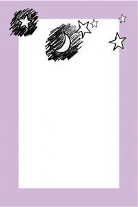 大人可愛いフリー素材:落書きみたいな月と星のイラストと紫の囲み枠;640×480pix