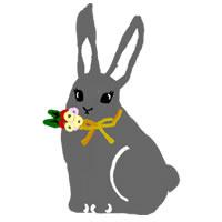 大人可愛いアイコン(twitter)のフリー素材:ガーリーなうさぎのイラスト;200×200pix