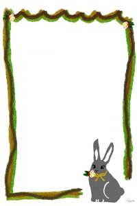大人可愛いフリー素材:森ガール風のウサギと緑のラフなライン;960×640pix