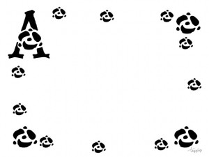 大人可愛いフリー素材:モノトーンのAの飾り文字とランダムなバラのフレーム;640×480pix