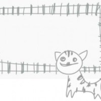大人可愛いフリー素材:子供の落書きみたいな北欧風デザインの猫とフレーム;640×480pix