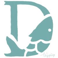 大人可愛いフリー素材:アイコン;くすんだパステルブルーの魚の飾り文字D;200×200pix