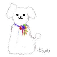 アイコン(twitter)のフリー素材:大人可愛いプードル犬(ホワイト)のイラストのフレーム;200×200pix