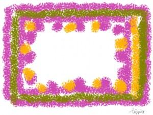 北欧風デザインのフリー素材:フレーム;クレヨン描き風の色遣いが大人可愛い飾り枠;640×480pix