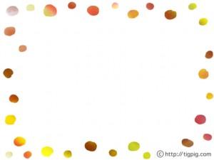 フリー素材:フレーム;大人可愛いスクラッチングのカラフルな水玉のフレーム;640×480pix