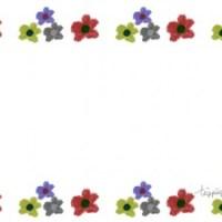 フリー素材:フレーム;北欧風の色遣いが大人可愛い花のラインの飾り枠;640×480pix