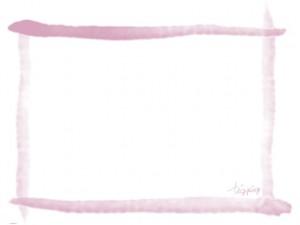大人可愛いフリー素材:フレーム;くすんだピンクのガーリーな水彩風のラインの囲み枠シ;640×480pix