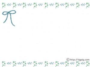 大人可愛いフリー素材:フレーム;北欧風の小花と葉っぱの飾り枠(青);640×480pix