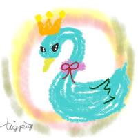 白鳥のアイコン,バナー(twitter)のフリー素材;王冠とにじみの背景がガーリーな白鳥のイラスト;200×200pix
