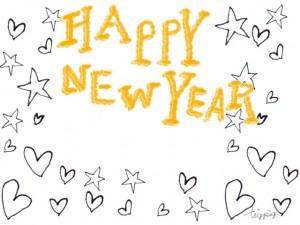 年賀状の大人可愛いフリー素材:モノトーンの手描きの星とハートとHAPPY NEW YEARの手書き文字;640×480pix