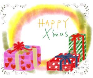 クリスマスのフリー素材:プレゼントボックスの無料イラストとHAPPY X'masの手書き文字;バナー広告300×250pix