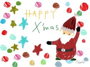クリスマスのフリー素材:ポップなサンタクロースと水玉とHAPPYX'masの手書き文字;640×480pix