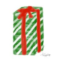 アイコン(twitter)のフリー素材;プレゼントボックス(緑のストライプ模様と赤いリボン)のイラスト;200×200pix