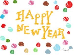 年賀状のフリー素材:HAPPY NEW YEARの手書き文字とカラフルなドット;640×480pix