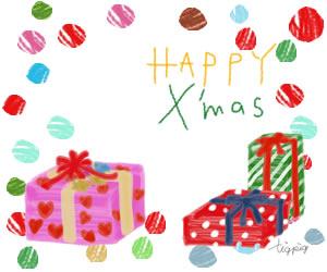 フリー素材:バナー広告,フレーム;クリスマスプレゼントとHAPPY X'masの手書き文字;300×250pix