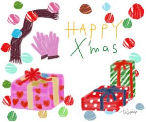 フリー素材:バナー広告;マフラーと手袋とクリスマスプレゼントとHAPPY X'masの手書き文字;300×250pix