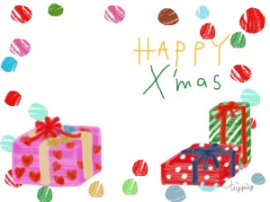 フリー素材:フレーム;大人可愛いプレゼントボックスとHAPPY X'masの手書き文字;640×480pix