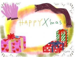 プレゼントと手袋とマフラーのイラストのクリスマスのフリー素材;640×480pix