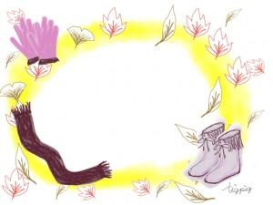大人可愛いフリー素材:フレーム;ガーリーなブーツと手袋とマフラーのイラストの飾り枠;640×480pix