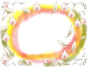 ガーリーな紅葉のイラストとカラフルなにじみのフレームのフリー素材;640×480pix