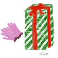 クリスマスカラーのプレゼントボックスとピンクの手袋のアイコン(twitter)のフリー素材:200×200pix
