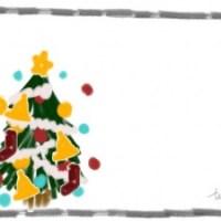 クリスマスのフリー素材:ポップなクリスマスツリーのイラストとモノトーンのラフな鉛筆の囲み枠;640×480pix