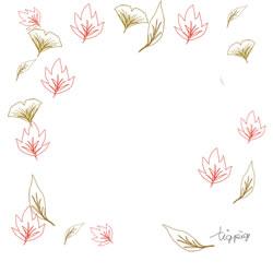 大人可愛い紅葉の落ち葉のイラストのバナー広告のフレームのフリー素材:250×250pix