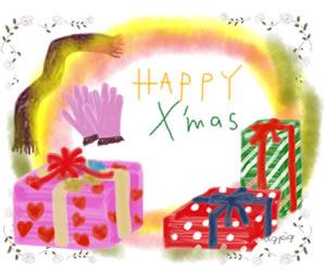 クリスマスのフリー素材:プレゼントボックスと手袋とマフラーのイラスト;バナー広告300×250pix