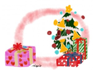 クリスマスのフリー素材:フレーム;ガーリーなプレゼントとクリスマスツリーと水彩の背景;640×480pix