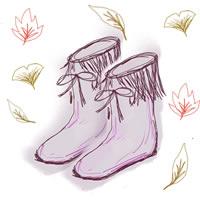 秋冬のフリー素材:フレーム;大人可愛いブーツと落ち葉のイラスト;640×480pix