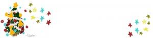 ヘッダー画像のフリー素材:ポップで大人可愛い手書きの星とクリスマスツリーのイラストの飾り枠:800×200pix