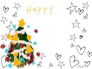 ガーリーなクリスマスのフリー素材:クリスマスツリーと星とハートとHAPPYの手書き文字;640×480pix