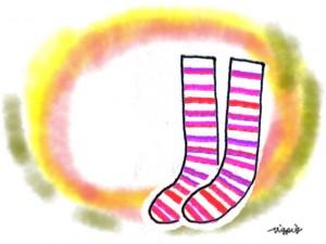 ピンクの靴下のイラストのフリー素材:640×480pix