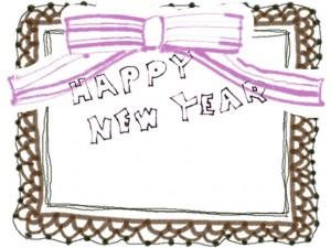 ポップなHAPPY NEW YEAR の手書き文字とブラウンのレースとピンクのリボンのフリー素材:640×480pix