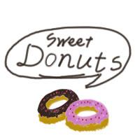 かわいいフリー素材:(twitter可);イチゴとチョコのドーナツのアイコンとSweetDountsの手書き文字のフキダシ