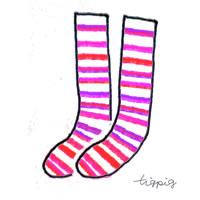 シンプルな手描きのピンクのシマシマの靴下のフリー素材:200×200pix