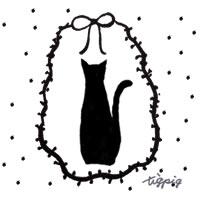 モノトーンの猫のシルエットとリボンとドットのかわいいフレームのフリー素材:200×200pix