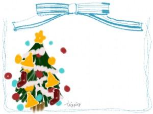 ポップなクリスマスツリーとパステルブルーのリボンの飾り枠のフリー素材:640×480pix