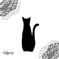 猫のシルエットとモノトーンのレースのかわいいイラストのフリー素材:200×200pix